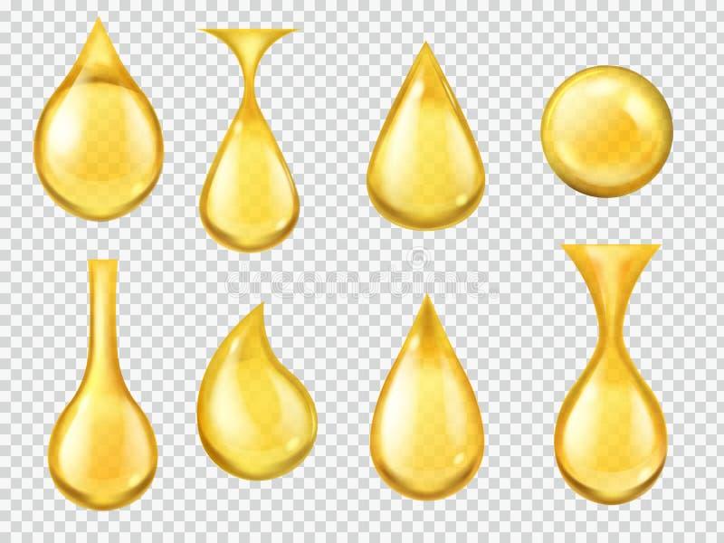 Descensos realistas del aceite Gota descendente de la miel, gotita amarilla de la gasolina Cápsula del oro de vitamina líquida, a ilustración del vector