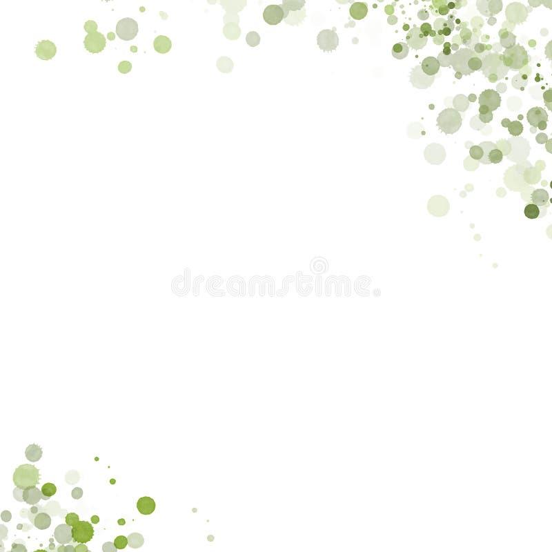 Descensos verdes del color de agua en un fondo blanco ilustración del vector