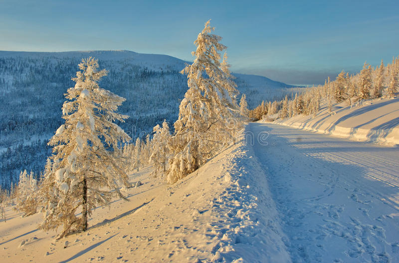 Download Descent From Pass. Winter. A Decline. Evening. Kolyma Stock Image - Image: 63323671