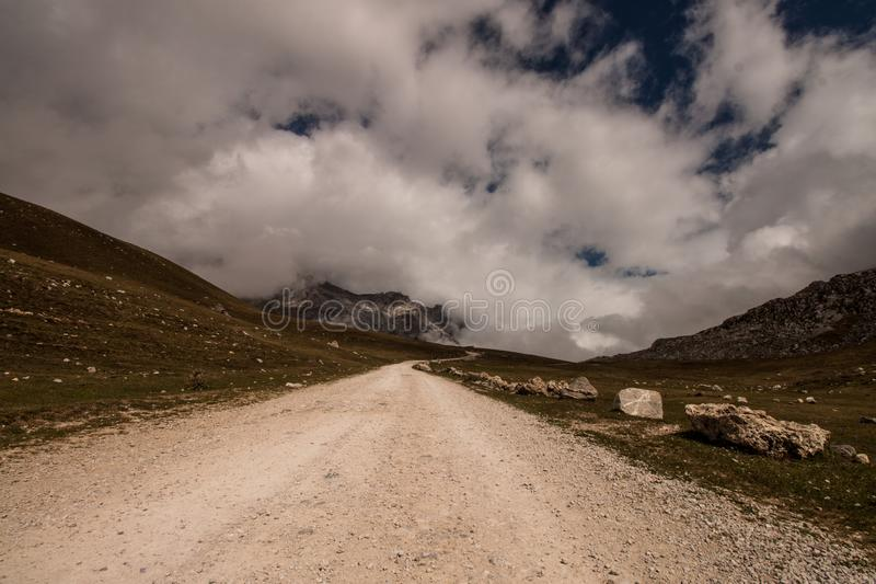 Descent from the peaks of Europe royalty free stock photos