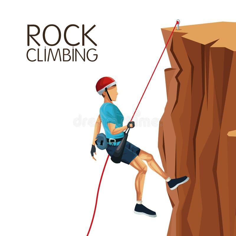 Descida da montanha do homem de cena com escalada do equipamento ilustração royalty free