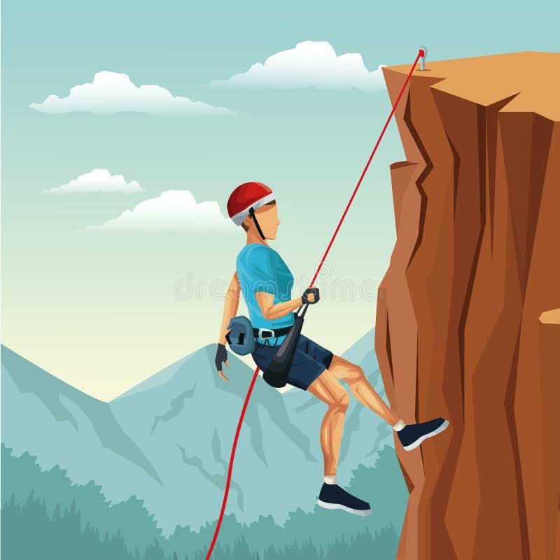Descida da montanha do homem da paisagem da cena com escalada do equipamento ilustração royalty free