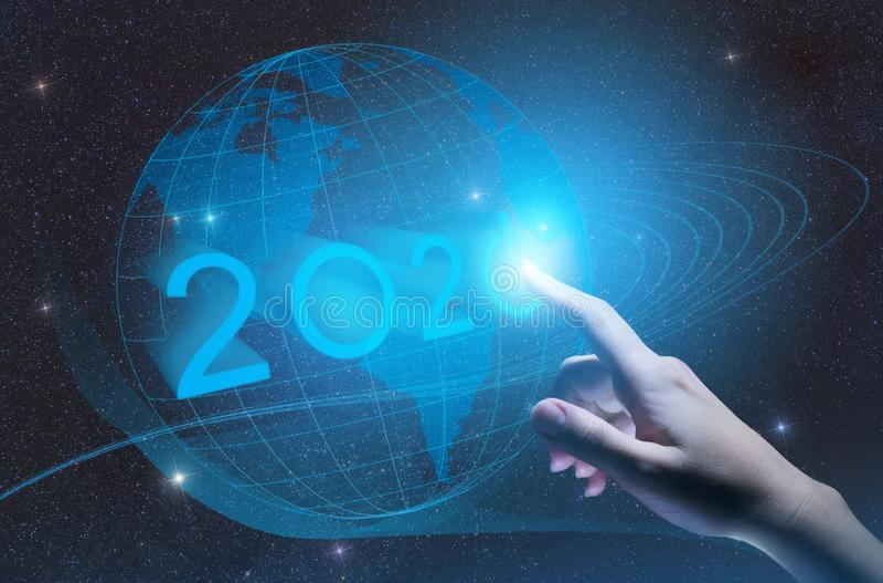 descoberta 2020 conceptual, descoberta da indústria e desenvolvimento 4 da indústria 0, gestão da inteligência artificial com o i foto de stock