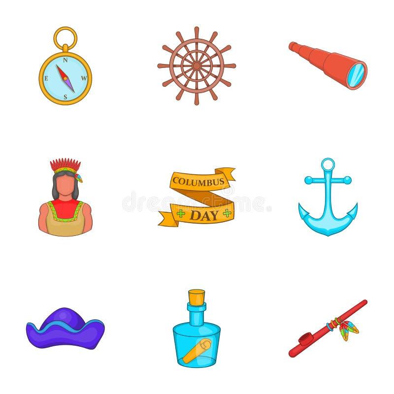Download A Descoberta De ícones De América Ajustou-se, Estilo Dos Desenhos Animados Ilustração do Vetor - Ilustração de detecte, americano: 80100938
