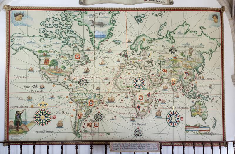 Descobertas e exploração marítimas portuguesas durante os séculos 15 e 16 fotografia de stock
