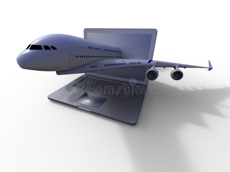 Descolagem plana de um portátil ilustração royalty free