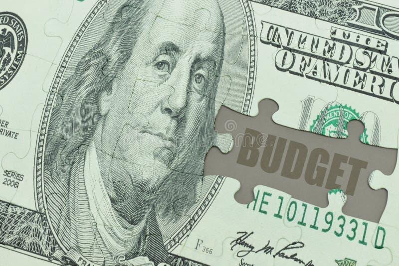 Desconcierte con el billete de banco del dólar y el presupuesto del texto ilustración del vector