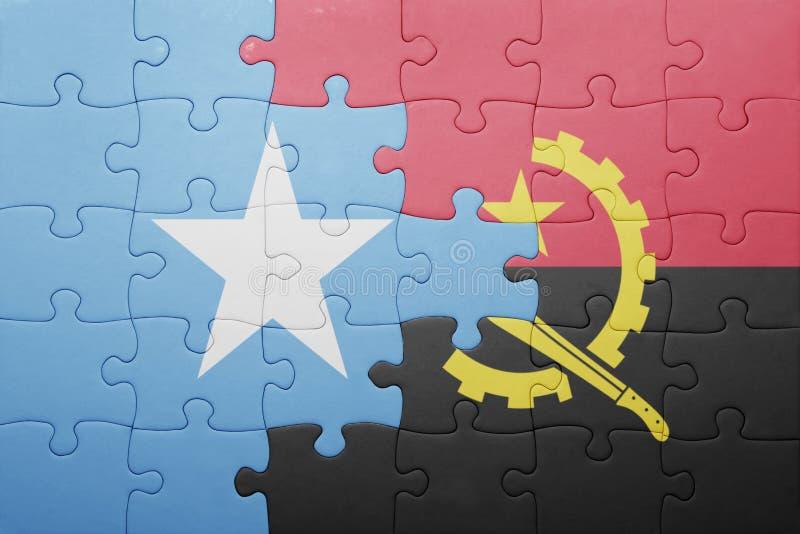 desconcierte con la bandera nacional de Angola y de Somalia stock de ilustración