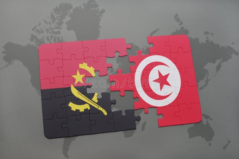 desconcierte con la bandera nacional de Angola y de Túnez en un mapa del mundo libre illustration
