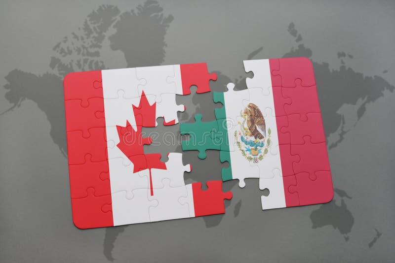 desconcierte con la bandera nacional de Canadá y de México en un fondo del mapa del mundo libre illustration