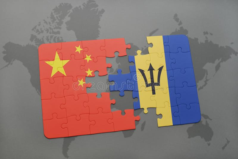 desconcierte con la bandera nacional de China y de Barbados en un fondo del mapa del mundo ilustración del vector