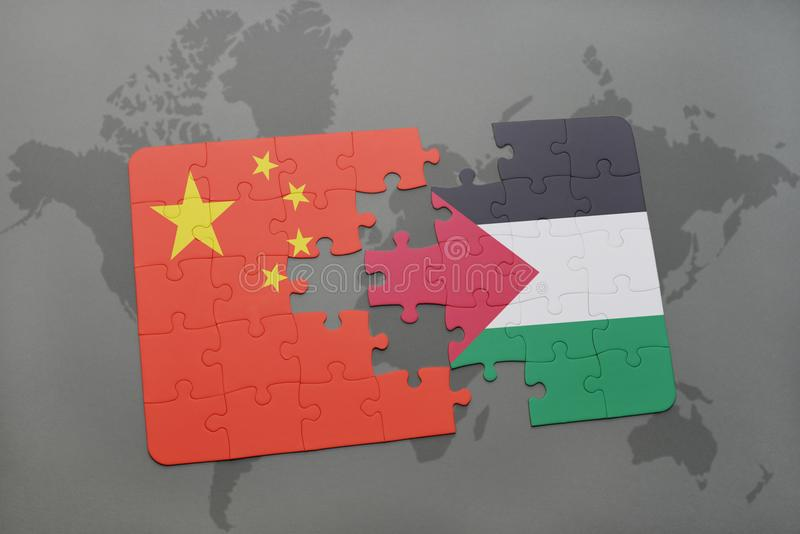 desconcierte con la bandera nacional de China y de Palestina en un fondo del mapa del mundo ilustración del vector
