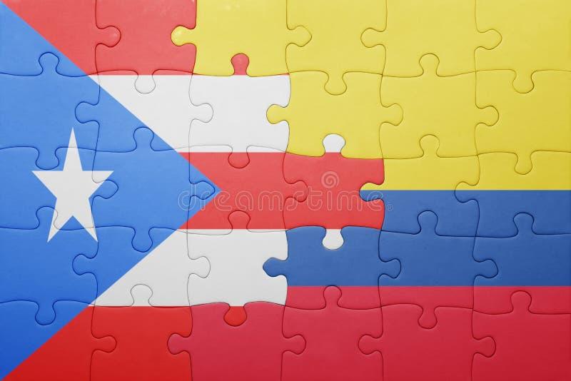Desconcierte con la bandera nacional de Colombia y de Puerto Rico foto de archivo libre de regalías