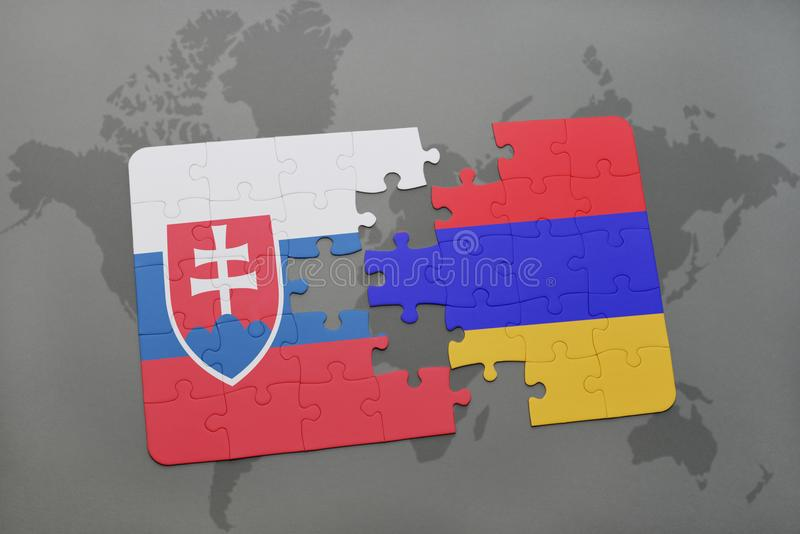 Download Desconcierte Con La Bandera Nacional De Eslovaquia Y De Armenia En Un Fondo Del Mapa Del Mundo Stock de ilustración - Ilustración de contra, ilustración: 100528859