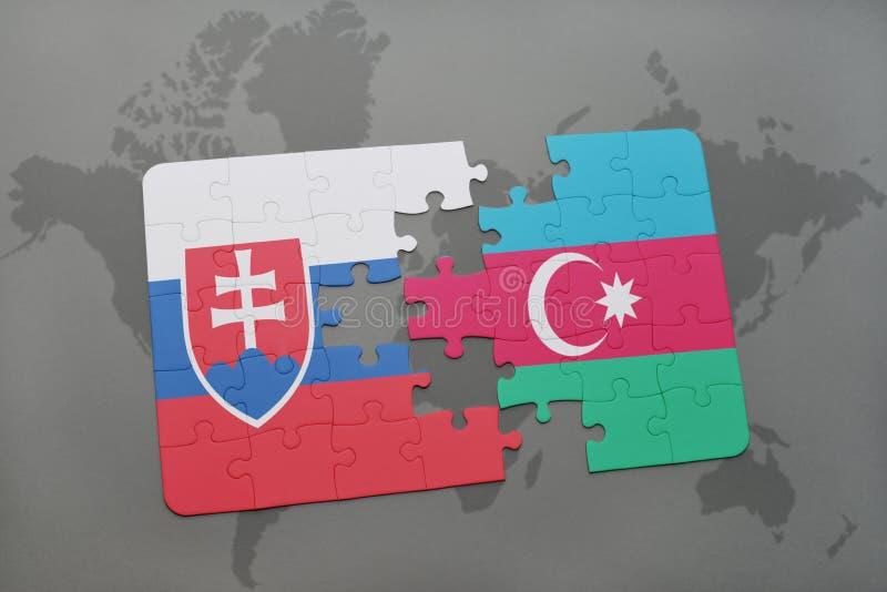 Download Desconcierte Con La Bandera Nacional De Eslovaquia Y De Azerbaijan En Un Fondo Del Mapa Del Mundo Stock de ilustración - Ilustración de baku, bratislava: 100528750