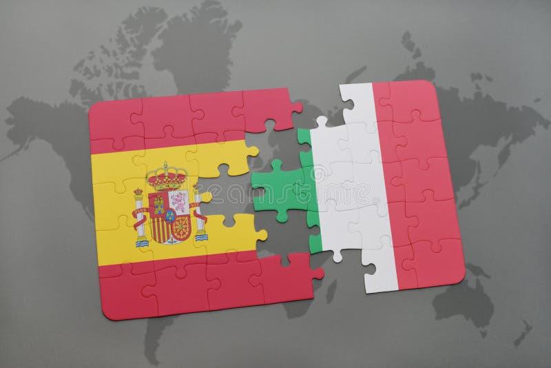 desconcierte con la bandera nacional de España y de Italia en un fondo del mapa del mundo stock de ilustración