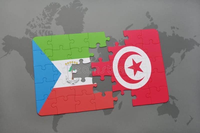 desconcierte con la bandera nacional de la Guinea Ecuatorial y de Túnez en un mapa del mundo stock de ilustración