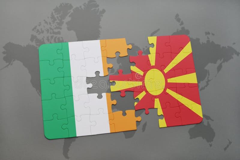 Download Desconcierte Con La Bandera Nacional De Irlanda Y De Macedonia En Un Fondo Del Mapa Del Mundo Stock de ilustración - Ilustración de rompecabezas, crisis: 100526695