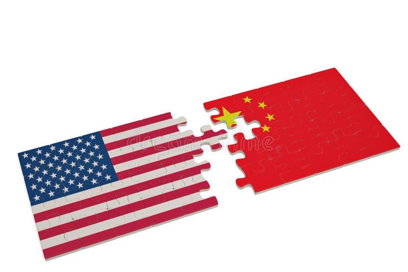 Desconcierte con la bandera nacional de los Estados Unidos de América y del ch libre illustration