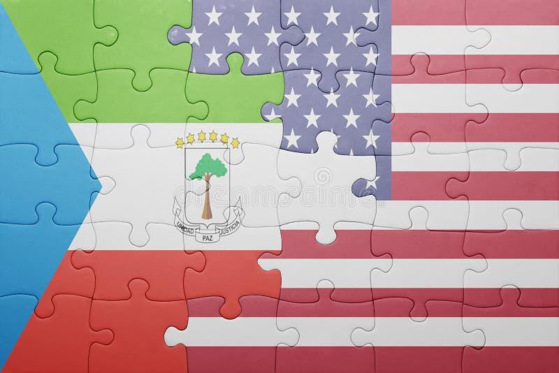 desconcierte con la bandera nacional de los Estados Unidos de América y de la Guinea Ecuatorial ilustración del vector