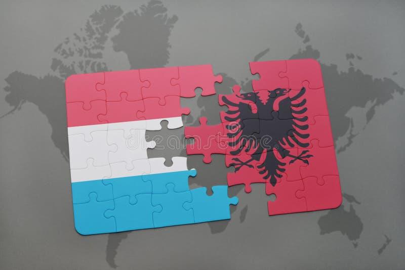 Download Desconcierte Con La Bandera Nacional De Luxemburgo Y De Albania En Un Fondo Del Mapa Del Mundo Stock de ilustración - Ilustración de economía, best: 100526669