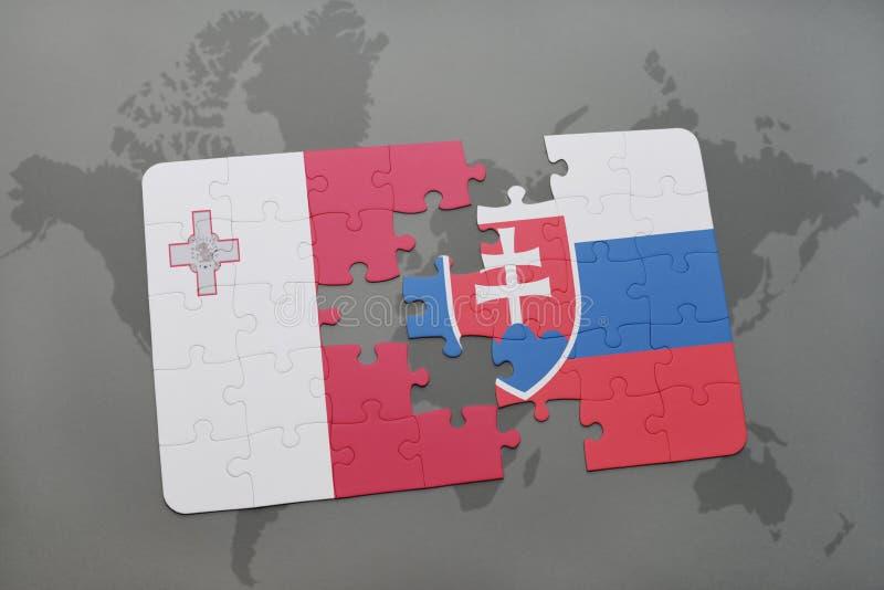 Download Desconcierte Con La Bandera Nacional De Malta Y De Eslovaquia En Un Fondo Del Mapa Del Mundo Stock de ilustración - Ilustración de correspondencia, gris: 100527321
