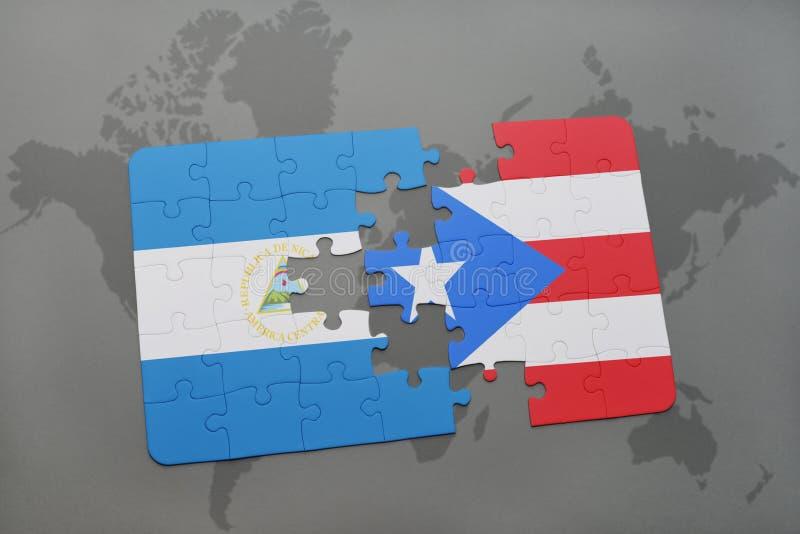 Download Desconcierte Con La Bandera Nacional De Nicaragua Y De Puerto Rico En Un Fondo Del Mapa Del Mundo Stock de ilustración - Ilustración de nicaragua, latino: 100527725