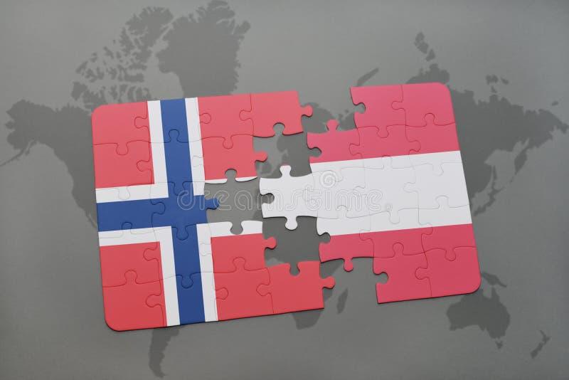desconcierte con la bandera nacional de Noruega y de Austria en un fondo del mapa del mundo stock de ilustración