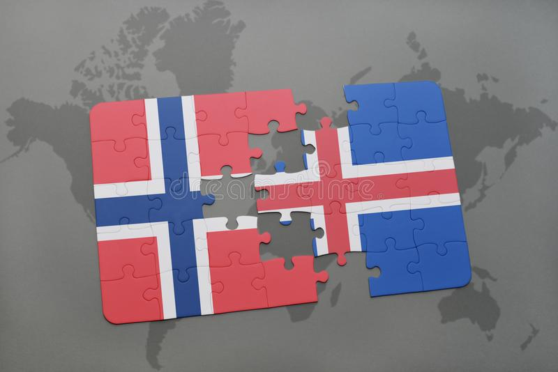 Download Desconcierte Con La Bandera Nacional De Noruega Y De Islandia En Un Fondo Del Mapa Del Mundo Stock de ilustración - Ilustración de crisis, país: 100527972