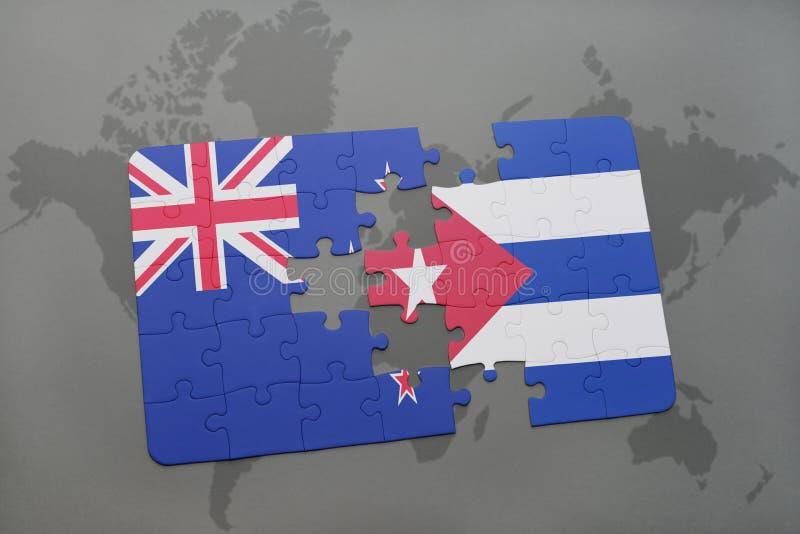 Desconcierte con la bandera nacional de Nueva Zelanda y de Cuba en un fondo del mapa del mundo ilustración 3D libre illustration
