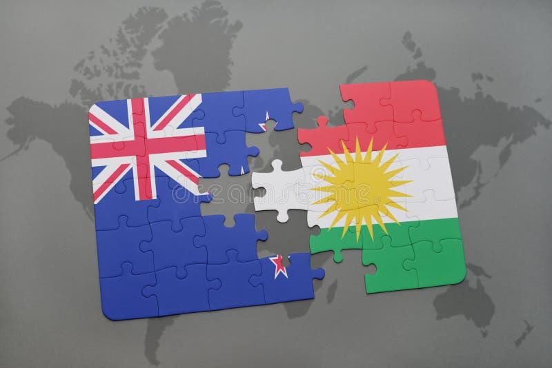 Desconcierte con la bandera nacional de Nueva Zelanda y del kurdistan en un fondo del mapa del mundo ilustración 3D libre illustration