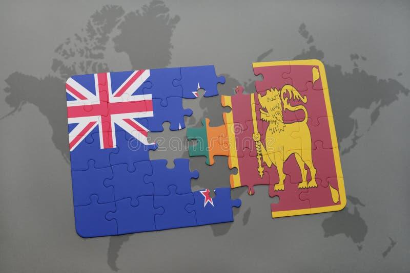 Desconcierte con la bandera nacional de Nueva Zelanda y de Sri Lanka en un fondo del mapa del mundo ilustración 3D libre illustration