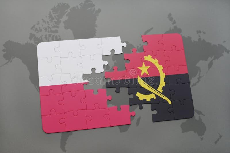 Desconcierte con la bandera nacional de Polonia y de Angola en un fondo del mapa del mundo ilustración 3D ilustración del vector