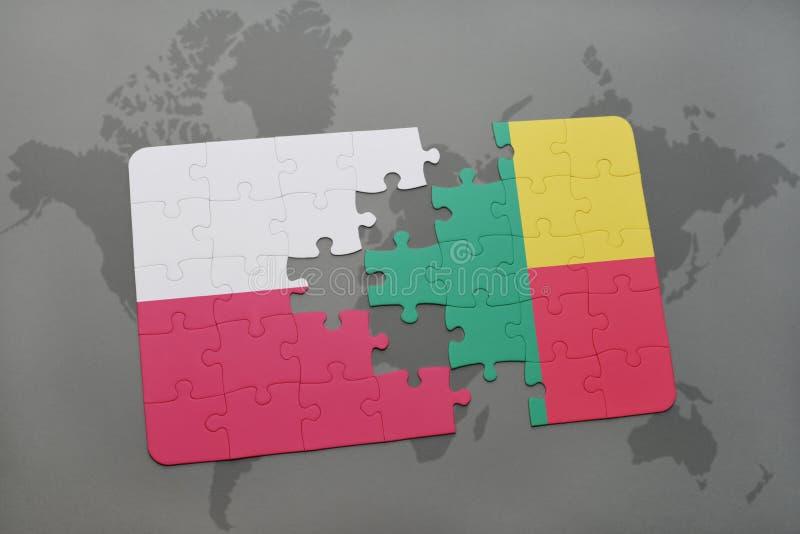 Desconcierte con la bandera nacional de Polonia y de Benin en un fondo del mapa del mundo ilustración 3D ilustración del vector