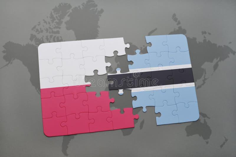 Desconcierte con la bandera nacional de Polonia y de Botswana en un fondo del mapa del mundo ilustración 3D stock de ilustración