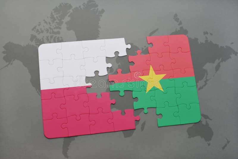 Desconcierte con la bandera nacional de Polonia y de Burkina Faso en un fondo del mapa del mundo ilustración 3D ilustración del vector
