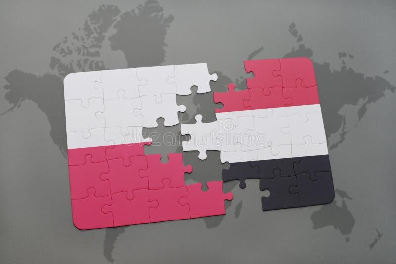 Desconcierte con la bandera nacional de Polonia y de Yemen en un fondo del mapa del mundo libre illustration