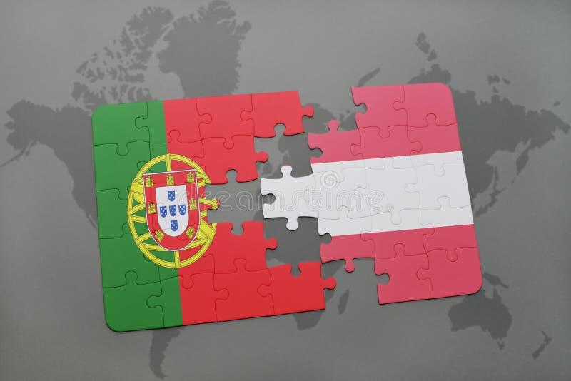 Download Desconcierte Con La Bandera Nacional De Portugal Y De Austria En Un Fondo Del Mapa Del Mundo Stock de ilustración - Ilustración de capital, país: 100528260