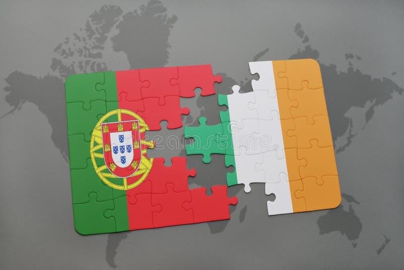 Download Desconcierte Con La Bandera Nacional De Portugal Y De Irlanda En Un Fondo Del Mapa Del Mundo Stock de ilustración - Ilustración de europeo, lisboa: 100528445