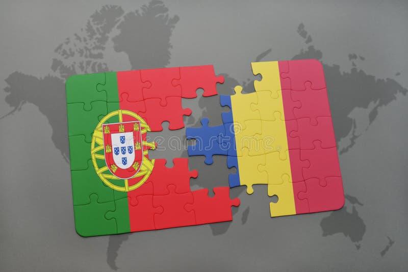 Download Desconcierte Con La Bandera Nacional De Portugal Y De Rumania En Un Fondo Del Mapa Del Mundo Stock de ilustración - Ilustración de amistad, gris: 100528399