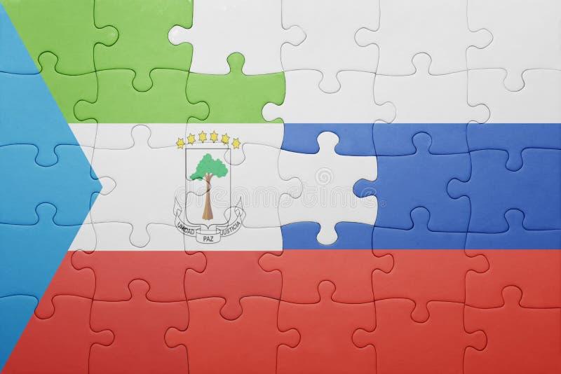 desconcierte con la bandera nacional de Rusia y de la Guinea Ecuatorial libre illustration