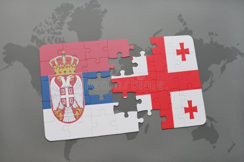 Download Desconcierte Con La Bandera Nacional De Serbia Y De Georgia En Un Fondo Del Mapa Del Mundo Stock de ilustración - Ilustración de finanzas, georgia: 100528559
