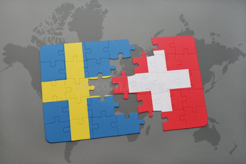 Download Desconcierte Con La Bandera Nacional De Suecia Y De Suiza En Un Fondo Del Mapa Del Mundo Stock de ilustración - Ilustración de contacto, gris: 100529791