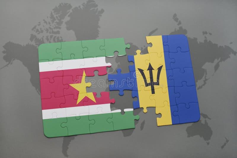 Download Desconcierte Con La Bandera Nacional De Suriname Y De Barbados En Un Fondo Del Mapa Del Mundo Stock de ilustración - Ilustración de gris, north: 100529120