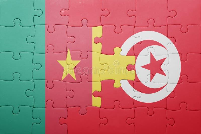 desconcierte con la bandera nacional de Túnez y del Camerún foto de archivo libre de regalías
