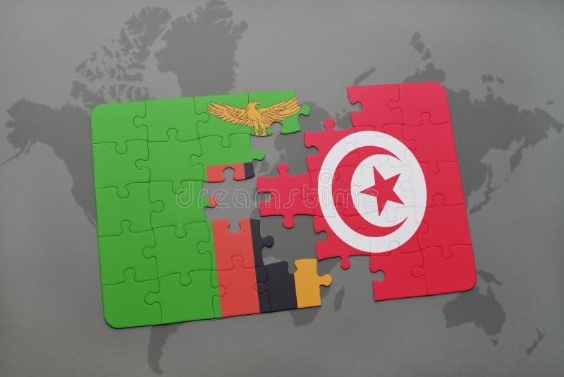 desconcierte con la bandera nacional de Zambia y de Túnez en un mapa del mundo stock de ilustración