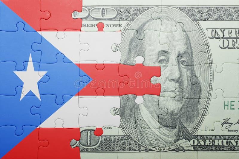 Desconcierte con la bandera nacional del billete de banco de Puerto Rico y del dólar imagen de archivo libre de regalías