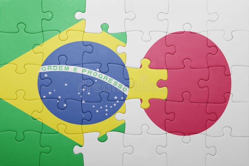 Desconcierte con la bandera nacional del Brasil y de Japón ilustración del vector