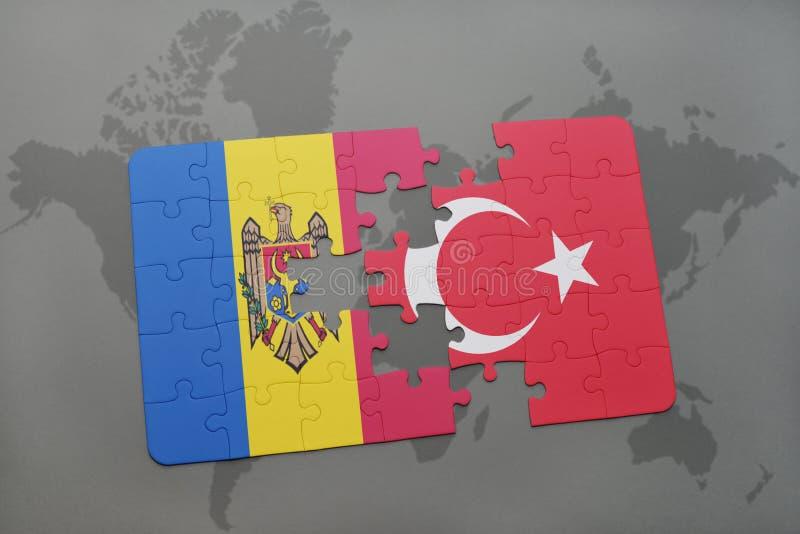 Download Desconcierte Con La Bandera Nacional Del Moldavia Y Del Pavo En Un Fondo Del Mapa Del Mundo Stock de ilustración - Ilustración de bandera, duda: 100527381