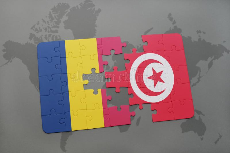 desconcierte con la bandera nacional del sábalo y de Túnez en un mapa del mundo libre illustration